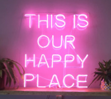 """New This Is Our Happy Place Lamp Wall Home Decor Acrylic Neon Sign 19""""x15"""""""
