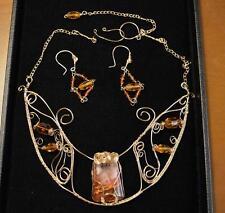 Red Phantom Quartz W/ Orange River & Citrine Collar Necklace Earrings 24 Ct GP
