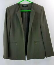 Kasper women long sleeve green open zipped pockets size 12