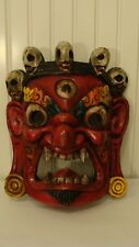"""Unique Wood HandCarved Red Mask With Big Ears, Sharp Teeth, Skeletons 8.5""""Lx10""""T"""