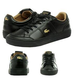 Lacoste Men's Casual Courtline 120 1 US CMA Athletic Shoes Leather Black Sneaker