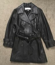 Womens Andrew Marc New York Black Leather Double Breasted 3/4 Length Jacket Sz M