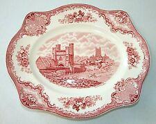 Unused Vintage Johnson Bros Canterbury 1794 Serving Platter, Red English Castles