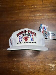 NWT Chicago Bulls Three Peat 1993 NBA Championship White Snapback Hat Cap New