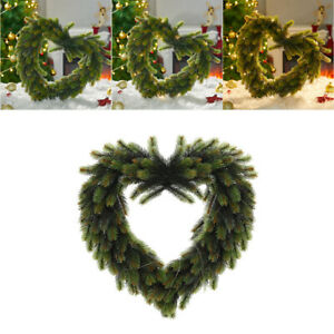 LED Lights Green Artificial Pine Needles Wreath Heart Wedding Party Decorations