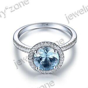 Sterling Silver Sky Blue Topaz Engagement Real SI/H Diamonds Fine Gemstone Ring