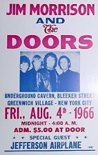 "Jim Morrison & the Doors Concert Poster - 1966 w/ Jefferson Airplane - 14""x22"""