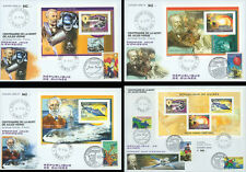 """JV05-G Set 4 FDC FRANCE - REPUBLIC OF GUINEA """"100 years Death JULES VERNE"""" 2005"""