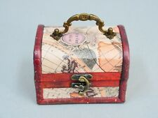 """Small Wood Jewelry Box, Storage Box Vintage Look with Handle And Latch 5x4"""""""