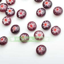20pcs 8mm Rondelle Lampwork Millefiori Glass Flowers Loose Beads Red And Purple
