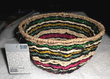 """Home Zone Multi-Color Seagrass Handcrafted Decor Basket 7.90"""" x 7.90"""" x 5.10"""