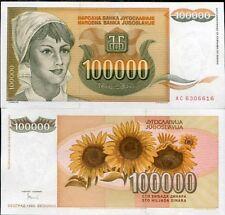 Yugoslavia 100,000 100000 Dinara 1993 P 118 Aunc About Unc Lot 5 Pcs