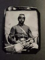 Sixth-Plate Civil War African Americans Soldier Tintype C2384RP