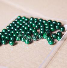 125 PERLE PERLINE DA 6 MM rotonde IN LEGNO verniciato verde scuro spacer