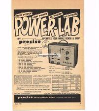 1957 Precise Model 711 Powerlab Electronics Bench Power Supply Vtg Print Ad