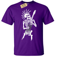 Kids Boys Girls PUNK SKELETON T-Shirt Guitar rock goth skull biker music