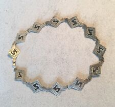 Silver Necklace Mexican Vintage Inlay