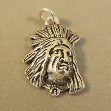 .925 Sterling Silver INDIAN CHEIF CHARM Pendant Feather Headdress NEW 925 OW09