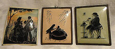 Antique Silhouette Reverse Glass Painted Pictures ~ (3) ~ Framed Convex Glass