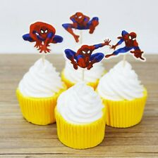 12 x Spiderman Super Hero Cake Picks Cupcake Toppers Flags Kids Birthday Party