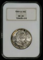 1949-S 50c FRANKLIN HALF DOLLAR, ORIGINAL MINT SET TONING *NGC MS 65* LOT#V358