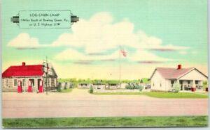 Bowling Green, Kentucky Postcard LOG CABIN CAMP Highway 31 Roadside Linen 1940s