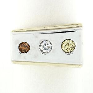 Men's 14K Gold 0.51ctw Fancy Yellow & Orangy Brown Diamond Three Stone Band Ring