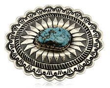 Navajo Belt Buckle .925 Silver Hand Stamped Artist L James C.80's Morenci