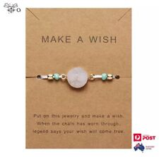 Make A Wish Natural Rose Quartz Stone Bracelet Adjustable Bangle Jewelry