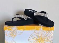 Womens  Clear Crystal Flip Flops Size 7 1.5 Inch Platform Heel