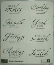Stampin' Up! Sincere Salutations Wood Mounted Rubber Stamp Set, Best Wishes, NEW