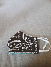 "Handmade ""Brown & Turquoise Bandana"" Cotton Fabric Face Mask Reversible"