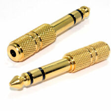 3.5mm Female Socket to 6.3mm 6.5mm Male Jack Plug Stereo Audio Adapter GOLD new