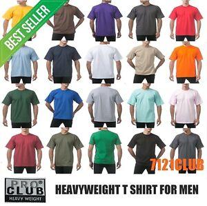 PRO CLUB HEAVYWEIGHT T SHIRTS PROCLUB MENS PLAIN CREWNECK SHORT SLEEVE TEE S-7XL