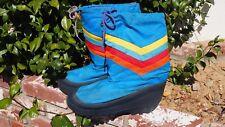 Vintage 70's-80's Retro Nylon Rainbow Moon /Snow Boots Size 7-8 Unisex