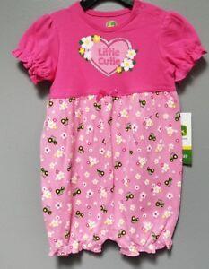 Infant Girls John Deere One Piece Summer Romper Tractor & Flowers Design NEW