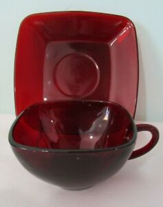 Charm Ruby Red Glass Square Cup and Saucer Set by Anchor Hocking 1950-56 EUC