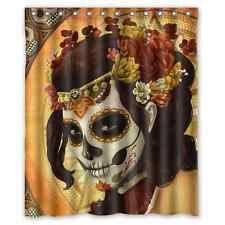 Day of the Dead Sugar Skull Polyester Waterproof Bath Shower Curtain 60 x 72