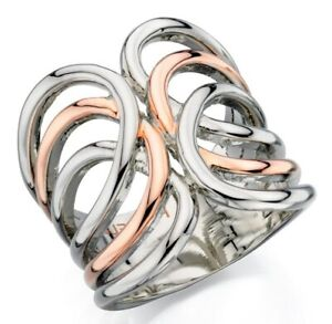Fiorelli Jewellery Polished Silver & Rose Gold Ladies Open Band Cage Ring [M]