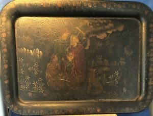 Rare Antique Tole Metal Tray Hand Painted Strawberry Border with Dog/Children