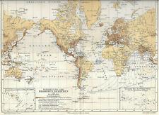 Erdbeben Seebeben Vulkane Verbreitung Welt - 1903 Landkarte Karte Antique Map