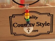 LGBT PRIDE Cord necklace with rainbow beads and Christian cross heart charm