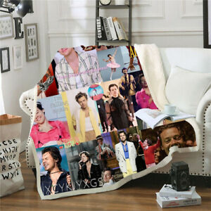 Harry Styles 3D Beds Hiking Picnic Thick Quilt Bedspread Fleece Throw Blanket