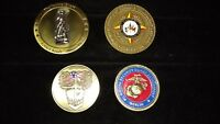 Lot of 4 authentic U.S. military challenge coins Nat. Guard, Reserve,USMA