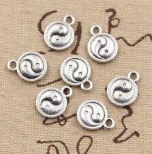 15pcs Charm Silver Tai Chi Yin Yang Pendant Craft Necklace Bracelet Making DIY