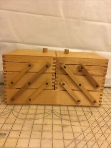 Vintage Wooden Fold Out Accordion Style 3 Tier Dovetailed Sewing Box