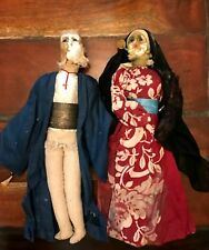Antique Cloth Dolls Couple Very Old Man Woman Need Repairs 14 inches Tall