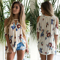 Ladies Summer V Neck Short Sleeve Floral T Shirt Ladies Beach Tops Loose Blouse