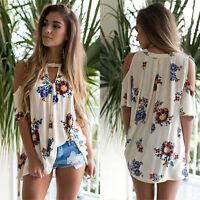 Ladies Summer V Neck Short Sleeve Floral T Shirt Ladies Beach Tops Loose Blouse