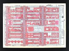 1955 Bromley New York City Map Upper East Side Lenox Hill St. Catherines Park